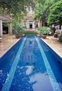 great lap pool ~ greek key pool tiles
