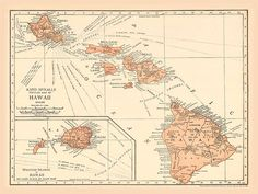 Hawaiian Islands Vintage Map Antique hawaiian map