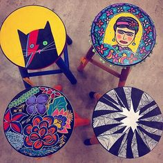 Decor: DIY baquetas coloridas, floridas, Frida Kahlo, David Bowie Cat #handcraft