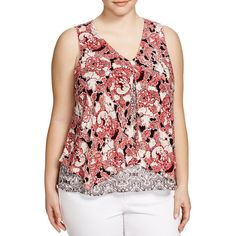 Lucky Brand Plus Mixed Print Silk Double Layer Tank ($87) ❤ liked on Polyvore featuring plus size women's fashion, plus size clothing, plus size tops, multi, plus size, silk tank top, red tank, red top, lucky brand tops and women plus size tops