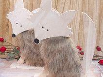 Fuchs aus Holz mit Fell Herbstdeko