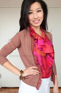 cardigan and ruffle top, professional wear