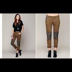 Free People Ditsy Patched Twill Pant Super comfy Free People pants. Great condition, worn once. Military green/brown color. I usually wear a size 26, these pants run big. Free People Jeans Ankle & Cropped