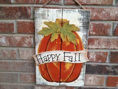 Rustic Ivory and Orange Happy Fall Pumpkin Pallet Sign Wooden Fall Home Decor Hanger