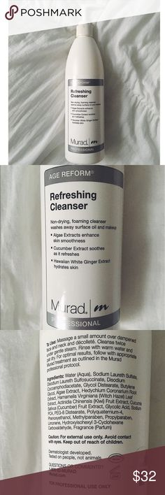 Murad age reform refreshing cleanser 100% Authentic. Purchased beginning of the year before the packaging change. Half full, a little goes a long way! It will last you the rest of the year (: This gentle lightweight cleanser removes makeup, dirt and other impurities. Cucumber Extract soothes as it refreshes while Hawaiian White Ginger and Algae Extracts soften and smooth skin.                                                            •no trades or holds✖️ •same/next day shipping📬 •use…