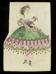 """1860s design for a """"Card Game"""" themed fancy-dress costume, probably for the House of Worth. V&A."""
