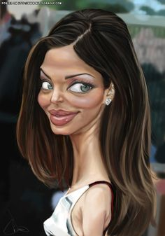 Caricature Illustration of Aishwarya Rai. Funny Caricatures, Celebrity Caricatures, Celebrity Drawings, Cartoon Faces, Funny Faces, Funny Pictures Of Women, Black And White Cartoon, Famous Cartoons, Caricature Drawing
