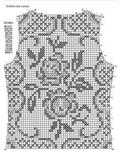 Blusa rendada em crochê-filé - Receita e gráfico | Tricô + Crochê