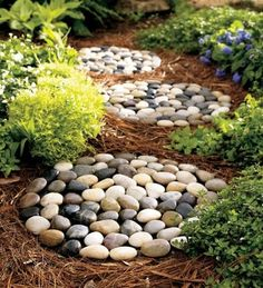 River Rock Stepping Stones  $29.95 	  Make a pathway in no time with premade river rock stepping stones. These not only add function, but also texture and dimension.    Set of 3. — House of Earnest