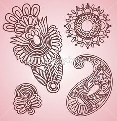Flowers and Paisley Design Elements