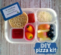 DIY Pizza Lunchables packed in an #EasyLunchboxes