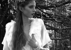 Boho inspired bridal jacket by Blanche in the Brambles faux fur. Dress by Laure de Sagazan