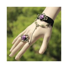 Elegant Purple Rose Embellished Charm Bracelet With Ring For Women ($3.71) ❤ liked on Polyvore featuring jewelry, bracelets, as the picture, purple jewellery, purple jewelry, charm bracelet, rose charm bracelet and rose jewelry
