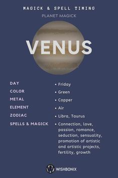 Moon Phases Discover Planet Venus - Spell Timing How to use the planetary energies of the Planet Venus in your spells and magick. Choosing the right day to cast a spell does not need to be a long and involved process. Jupiter Astrology, Astrology Planets, Learn Astrology, Zodiac Signs Astrology, Astrology Numerology, Zodiac Planets, Magick Spells, Green Witchcraft, Wiccan Witch