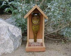 Wine Bottle Bird Feeder, Green Glass With Grape Vine Label - Recycled, Upcycled…