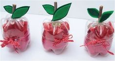 Get crafty with teacher appreciation gifts. Your kids can easily make this Plastic Bottle Apple Gift. Reuse Plastic Bottles, Plastic Bottle Crafts, Recycled Bottles, Cute Teacher Gifts, Teacher Appreciation Gifts, Recycled Crafts, Diy And Crafts, Crafts For Kids, Plastique Recyclable