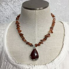 Red agate gemstone beaded necklace with by VelvetCurtainDesigns