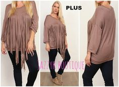 """87%POLYESTER,10%RAYON,3%SPANDEX      Solid fringed top  Body length:26""""      ***ITEM SHIPS OUT IN 8-14 BUSINESS DAYS*** 