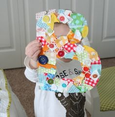 fun craft/decor the kiddos to make for bedroom door. cool way to use up fabric scraps