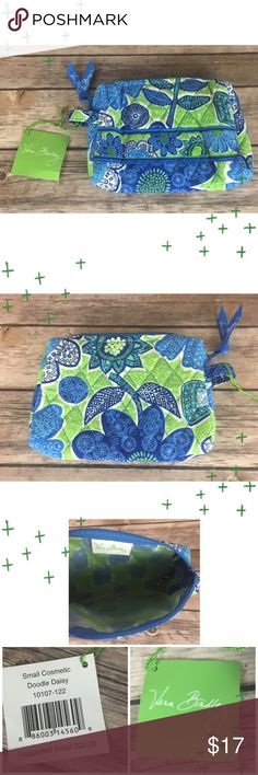 Vera Bradley Small Cosmetic Bag Doodle Daisy NWT Blue floral cosmetic bag. Wipe clean interior. NWT. Vera Bradley Bags Cosmetic Bags & Cases
