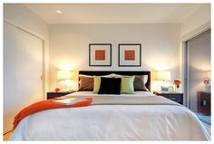 Master Bedroom Staging - love the punches of orange Dream Bedroom, Kids Bedroom, Master Bedroom, Grey Bedding, Home Staging, My Room, Decoration, Sweet Home, House Design