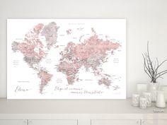 Piper: Mapamundi personalizado para marcar viajes, acuarela rosa palo y gris #DigitalDownload #mapa #MapaConCiudades #MapaEnCorcho #aventura #MapaMundiTipoCorcho #gris #femenino #acuarela #corkboard #MapaParaChincheta #MapaDelMundo #corchera #aventurero #MapaParaPonerChinchetas