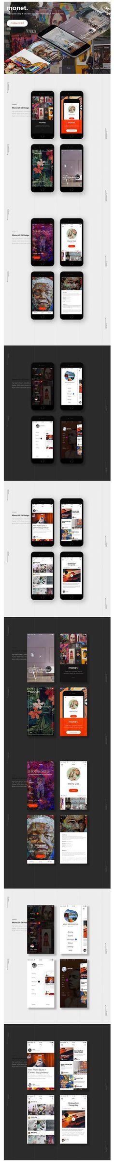 Free PSD iOS App UI Kit: Monet by Konul Bayramova: