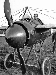 Morane-Saulnier Type N • French monoplane fighter aircraft of the First World War. Used wing warping instead of ailerons. The Type N mounted a single unsynchronized forward-firing machine gun which used the deflector wedges in order to fire through the propeller arc. Later removed, the large metal spinner designed to streamline the aircraft caused the engines to overheat because the spinner deflected air away from the engine.
