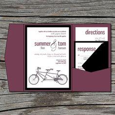 Wedding Invitation, DIY, Pocketfold, Tandem Bike, Printable, Digital File by ticklemeink on Etsy. $60.00, via Etsy.