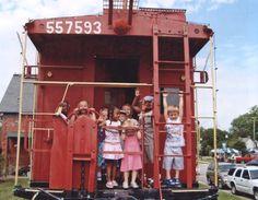 Children enjoying the caboose display, Suffolk Seaboard Station Museum, Va, photo taken by Marie Carmean