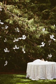 Paper doves and lace tablecloth