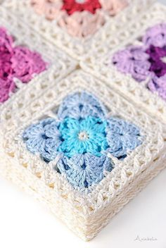 Crochet Granny Square Patterns Ravelry: Crochet Square Motif pattern by Anabelia Handmade - I definitely recommend it you for getting a comfortable and enjoyable crochet time in which you don't need to pay attention to complicated stitches. Motifs Granny Square, Crochet Motifs, Granny Square Crochet Pattern, Crochet Blocks, Afghan Crochet Patterns, Crochet Squares, Crochet Afghans, Blanket Crochet, Heart Granny Square