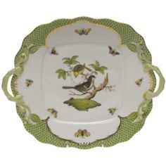 Herend Rothschild Bird Green Square Cake Plate with Handles Herend China, Bering, Dessert Aux Fruits, Square Cakes, Antique China, Antique Dishes, Serving Plates, Serving Dishes, China Patterns