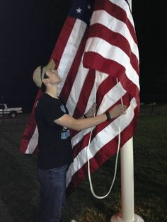 Nephew/Godson/Patriot/Eagle Scout ~ Raising the flag on his Eagle project ~ a flagpole dedicated to the vets in his town on the H.S. athletic field.  He is now at Fort Benning for Basic Training.  #ourhero #america #godblesstheusa #army