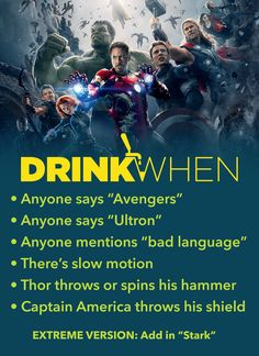 Avengers age of ultron 2015 drinking game marvel drinking game avengers drinking game food and drink icon disney movies avengers age of ultron 2015 drinking game drink when 26 iconic foods from disney movies you can actually make Friends Drinking Game, Movie Drinking Games, Drinking Games For Parties, Age Of Ultron, Drunk Games, Alcohol Games, Avengers Age, Avengers Memes, Movie Night Snacks