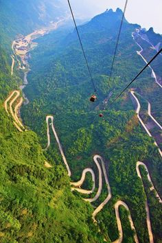 The spectacular winding road of Tianmen Mountain in Hunan Province, China.
