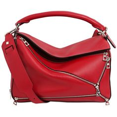Loewe Women Medium Puzzle Zip Leather Top Handle Bag (€2.620) ❤ liked on Polyvore featuring bags, handbags, shoulder bags, red, leather cross body handbags, leather handbags, red crossbody, leather shoulder handbags and red leather handbags