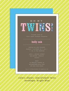 Swatch Twins Baby Shower Invitation