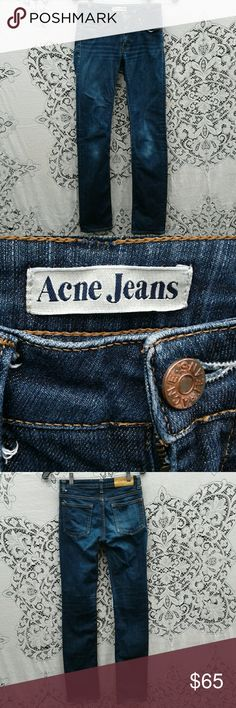 """ACNE JEANS """"HEP RAW"""" STRAIGHT LEG SIZE 26/32 LOGO EMBOSSED BUTTON,  ZIP FLY,  98% COTTON, 2% ELASTANE,  DISTRESSED DETAILS,  TRUE TO SIZE,  GENTLY WORN AND WASHED,  GREAT PRE-LOVED CONDITION,  NO SIGNS OF WEAR, RIPS, STAINS OR SMELLS ACNE JEANS  Jeans Straight Leg"""