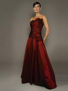 2012 Style A-line Strapless Ruffles  Sleeveless Floor-length Taffeta  Mother of the Bride Dresses