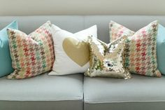 Ruth Allen's New England Home Tour #theeverygirl: multicolor houndstooth fabric!!!