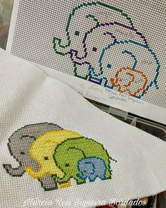 Elephant family x-stitch