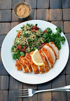 Entree 2 boneless, skinless chicken breasts ½ cup hummus of your choice (I used…