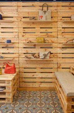 PALLET DISPLAY - I like adding a simple shelf