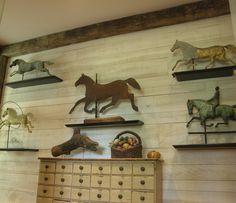 Horse weathervanes.