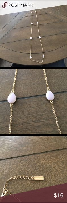 Bauble bar light pink long adjustable necklace Bauble bar light pink and gold long adjustable lobster claw necklace. Total length is 40 1/2 inches. Worn once baublebar Jewelry Necklaces