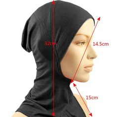 Under Scarf Hat Cap Bone Bonnet Hijab Islamic Band Neck Cover Head Wear - Black . Hijab a hijab cap