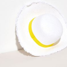 White straw hat with yellow ribbon - Collection - Beach | Zara Home United States of America