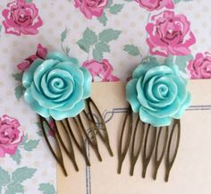 Blue Rose Hair Comb. Romantic Sweet Blue Bloom Rose. Nature