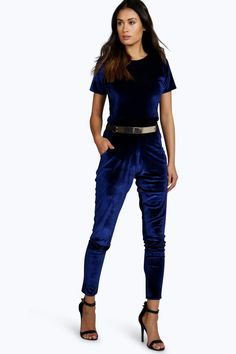 Martha Capped Sleeve Belted Velvet Jumpsuit